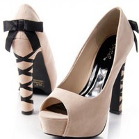 Nude Peep Toe Black Bow Suede Heel Pump : Qupid  | CHIQ $37.50