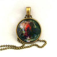 10% SALE - Necklace Copper, Soul Nebula , Galaxy Jewelry, Universe, Space, Pendant Necklaces,Constellation