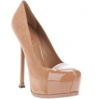 Yves Saint Laurent beige suede Tribtoo cap-toe pumps