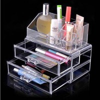 Luxury Clear Acrylic Cleanup Cosmetics Makeup Organizer Drawers Display Gift