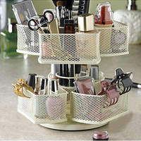 Cream Two-Tier Make-Up Carousel Bathroom Organizing Product