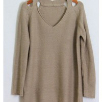 Open Shoulder Knit Sweater - Taupe