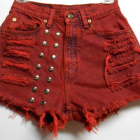 Vintage Levis High Waist Denim Shorts --Dyed RED  with Studs Waist 26  inch