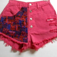 Vintage Hot Pink  High Waist  Denim Shorts Tribal Print  Waist  25     inches