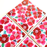 Red Flower Coasters, Poppies Ceramic Tiles, Summer Floral, Table Drink Set