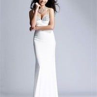A-line Spaghetti Strap Sweetheart Beaded White Floor-length Prom Dress PD1486