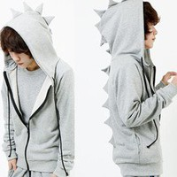 MC63 Vogue Men's cosplay boys dinosaurs coat suit Sweater Hoodie / M L XL grey