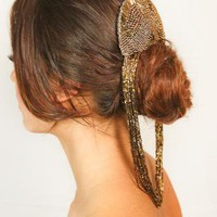 Gold beaded Headpiece Hair Piece Pony Chain Fascinator