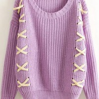 Crossed String Detail Chunky Sweater
