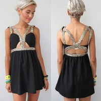 BLACK GOLD SEQUIN HARNESS CUT OUT BUSTIER BACKLESS BACK NIGHT DRESS 6 8 10 12
