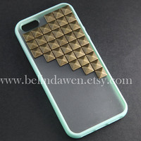 studded iphone 5 case, antique brass pyramid stud mint green iPhone case, mint green,  Frosted Translucent iphone 5 case, case for iphone 5