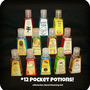 Twelve Different Wizard Inspired Waterless Hand Cleaners in Mini Potion Bottles