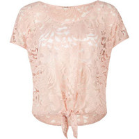FULL TILT Lace Tie Front Womens Top | Knit Tops & Tees | Tillys.com