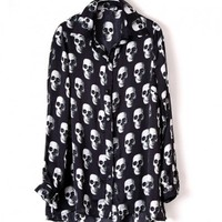 Oversized Blouse with Skull Print and Dip Hem