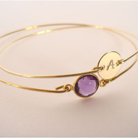 PERSONALIZED gold bangle - Personalized initial bracelet - Custom initial bangle