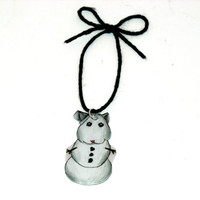 Snowman Hamster Ornament, Christmas, Holiday, Animal, Winter, Décor, Decoration, Kawaii, Whimsical, White, Shrink Plastic, Stocking Stuffer
