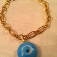 Unique Gold EVIL EYE Charm Bracelet Kabbalah, Middle Eastern Handmade Jewelry | eBay