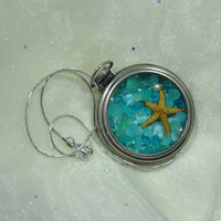 Pocket Watch Locket Pendant Filled with Aqua/Green Sea Glass, Pearls & Starfish