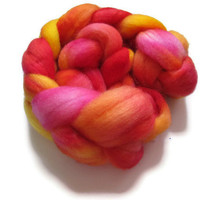 Hand Dyed Roving, BFL, Pink, Yellow, and Orange,  Four Ounces