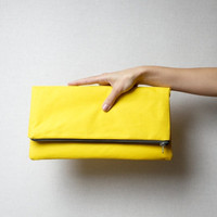 Zipper fold over clutch YELLOW, zipper bag, zipper pouch - sale