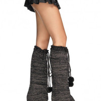 Leg Avenue 3914 - Woven Lurex Bellbottom Legwarmers with Pom Pom Tie Tops