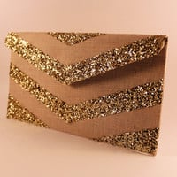 Gold Glitter Chevron Envelope Clutch