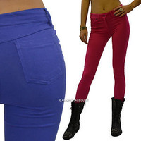 New Basic Skinny Stretch Color Pants Leggings Slim Fitted Pencil Tight Trousers