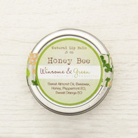 Natural Lip Balm Tin - Honey and Cooling Peppermint - Honey Bee / geometric eco friendly green garden vintage