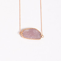 Druzy Free Form Necklaces in Rose Gold | a-thread