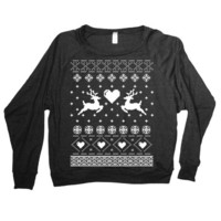 Womens Reindeer Ugly Christmas Sweater Print Long Sleeve Sweatshirt Pullover (American Apparel Black)