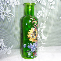 Green vase - multi colored floral - swarovski crystals