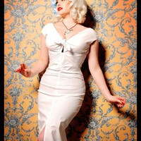 The Niagara Dress in White Bengaline by Dixiefried - Dresses - Clothing | Pinup Girl Clothing