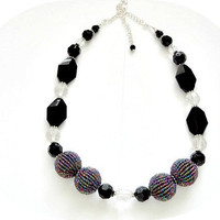 Black Onyx, Crystal and Beaded Beads Necklace