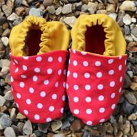 Baby Booties, Red Spots And Mustard.. on Luulla