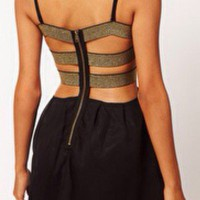 ASOS Black Chiffon Bandeau Dress With Lurex Straps And Gold Back By Paprika NWOT