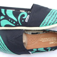 The Betty - Teal and Black Custom TOMS