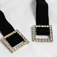 Super Trendy Elastic Hair Tie with a Rhinestone Encrusted Square Buckle