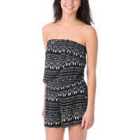 Love, Fire Strapless Tribal Print Romper