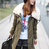 Medium Length Winter Cashmere Fur Fleece Inside Wind Breaker Jacket Coat