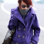 Wholesale Fashion Pattern Button Front Hooded Coat Purple