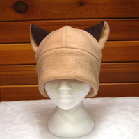 Siamese Cat Hat - Brown Fleece Cat Ear Beanie Hat by Ningen Headwear