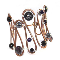 Gemstone Copper &amp; Sterling Silver Bracelet by SunflowerStudiosUK