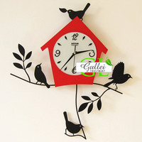 Birds Hanging Pendulum Metal Wall Clock Gift for Him - GULLEITRUSTMART.COM