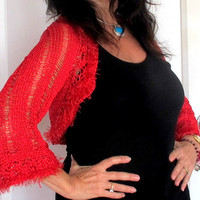 Knit sweater shrug, holiday red bolero, satin knit shrug, festive outerwear