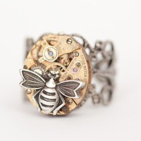 Steampunk Bee Ring Rare red vintage TITUS watch by cathybaron