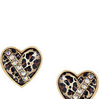 BetseyJohnson.com - LEOPARD HEART STUD EARRING 2 LEOPARD