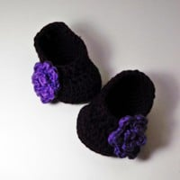 Rose Baby Booties - Purple on Luulla