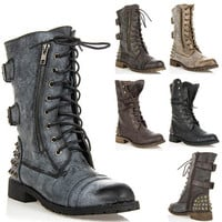 Womens Shoes Lace Up Military Combat Studded Mid Calf Boots Black Brown Tan