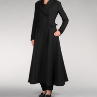 beautiful cloth lined interior black long coat