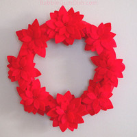 Christmas Decor Poinsettia Wreath Red Felt Red Ribbon 12 inch